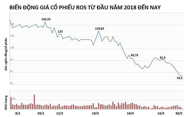 ROS đã mất hơn 60% giá trị từ đầu năm 2018 đến nay. Nguồn: VNDirect.