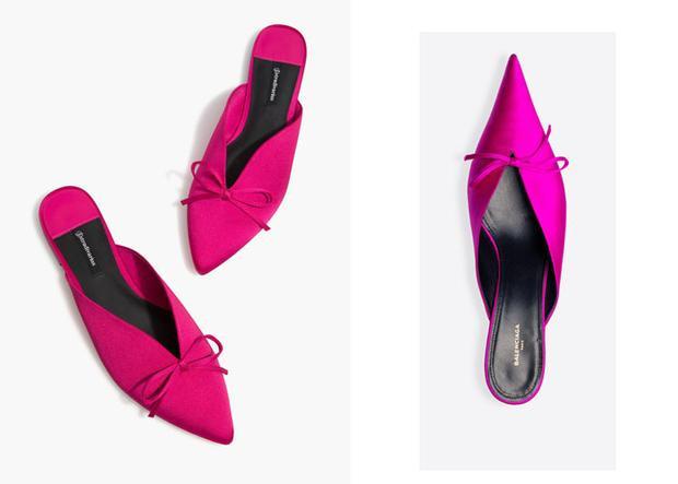 """Ngoài quần áo, trang phục thì phụ kiện cũng là những items bị dính nhiều nghi vấn về """"anh em sinh đôi"""".Đơn cử như thiết kế Stradivarius bên trái và mẫu giày của Balenciaga bên phải."""