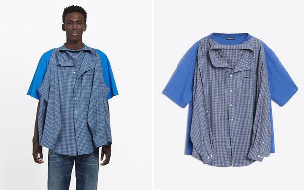 """Ngay khi thương hiệu Balenciaga cho ra mắt thiết kế này, phần lớn cộng đồng mạng đều """"cười như được mùa"""" vì thiết kế kỳ lạ của nó. Một chiếc áo sơ-mi và áo thun được may dính vào với nhau theo đúng nghĩa đen của cụm từ """"hai trong một""""."""