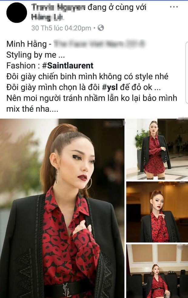 Đặc biệt, gần như ngay sau đó, Travis Nguyen, stylist của Minh Hằng chương trình này đã đăng tải status lý giải rằng đôi boots này không phải là sự lựa chọn ban đầu của anh cho nữ ca sĩ. Việc phối cùng món phụ kiện đó hoàn toàn do ý từ phía cô.