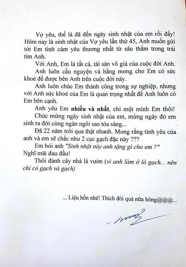 Bức tâm thư mà người chồng gửi đến vợ.