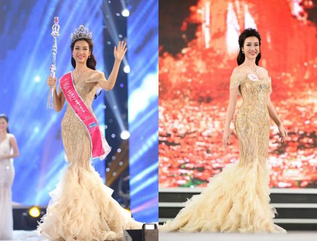 Bộ cánh đuôi cá đầu tiên phải kể đến trong danh sách trên đó chính là chiếc đầm đã giúp cô sinh viên họ Đỗ đăng quang ngôi vị Hoa hậu Việt Nam năm 2016. Thoạt nhìn thiết kế có vẻ như khá đơn giản nhưng chính đặc điểm này giúp cô sinh viên Đại học ngoại thương trở nên tự tin tỏa sáng trên sân khấu.