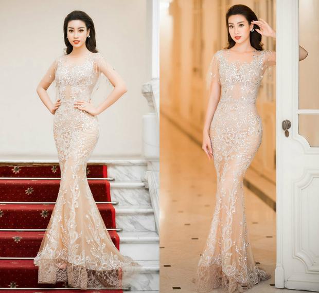 Trong vai trò MC của một sự kiện âm nhạc đầunăm 2018, Hoa hậu Đỗ Mỹ Linh mặc váy mỏng tang. Bộ trang phục giúp cô khoe trọn vẹnlợi thế hình thể của mình. Nàng hậu cũng rất khéo léo chọn kiểu tóc buông xõa, gợn sóng bồng bềnh cùng lối trang điểm ấn tượng, toát lênthần thái quyến rũ.