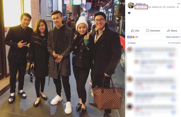Hình ảnh gần nhất có mặt Hoài Lâm trên Facebook của Cindy Lư vào khoảng cách đây 1 năm trước nhưng chụp cùng bạn bè.