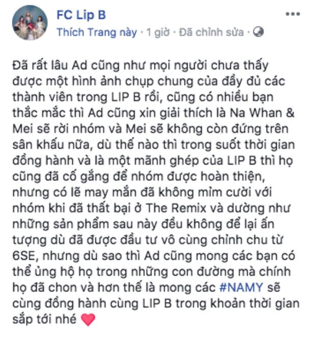 Bài viết khiến cộng đồng fan Lip B không khỏi đau lòng.