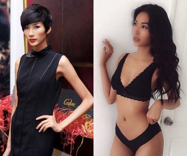 """Dù body chưa thuộc diện """"bốc lửa"""" như các siêu mẫu quốc tế nhưng ba vòng cân đối và đầy đặn hơn hẳn thân hình """"cò hương"""" lúc vào nghề vẫn đủ khiến fan tự hào vì nỗ lực tăng cân một cách khoẻ mạnh, khoa học của Á hậu Hoàn vũ Việt Nam 2017."""