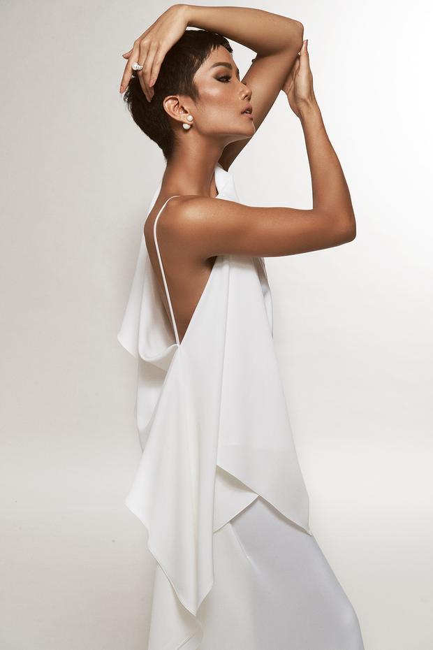 Phần lưng gợi cảm của Hoa hậu Hoàn vũ Việt Nam 2017 được phô diễn đầy khiêu khích trong chiếc váy có lưng được khoét sâu bất đối xứng. Điểm nhấn của thiết kế được phân bố ở lưng, ngực váy và trải dài từ thắt eo đến gối.