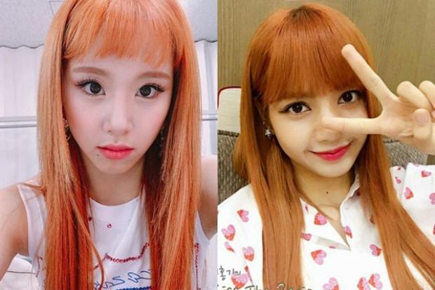 Hình ảnh của Chaeyoung và Lisa với mái tóc cam.