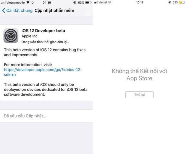 Nhiều người dùng tại Việt Nam không thể truy cập được vào App Store sau khi nâng cấp lên iOS 12.