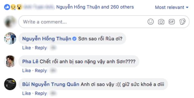 Bạn bè, đồng nghiệp trong giới để lại bình luận hỏi thăm Cao Thái Sơn.