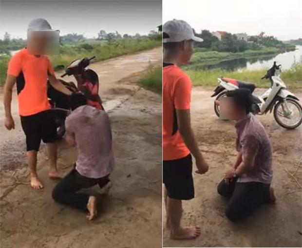 Thanh niên bị đánh tới tấp, bắt quỳ gối xin lỗi. Ảnh cắt từ clip.