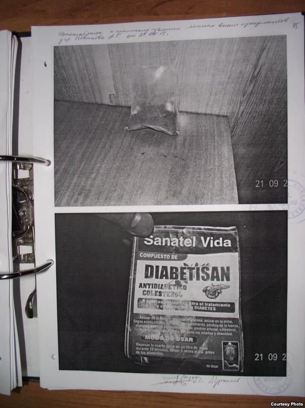 Hình ảnh túi trà bị tịch thu và nghi ngờ có chứa ma túy tổng hợp. Ảnh: Radio Liberty