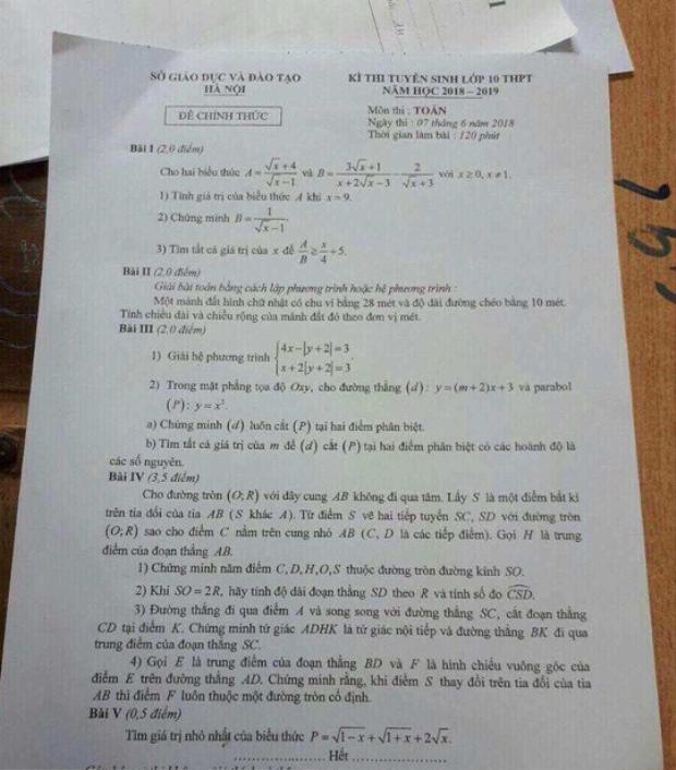 Đề thi bị lộ có nội dung trùng với đề thi chính thức.
