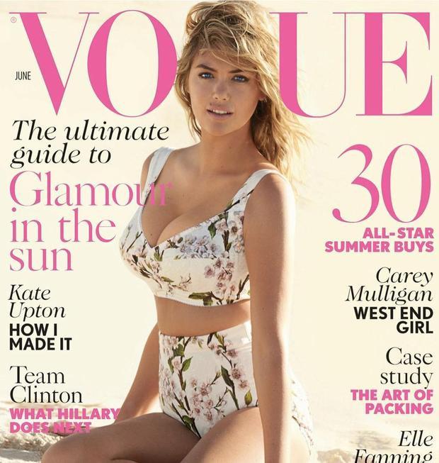 Vào tháng 1 năm nay, Kate Upton cũng vừa được lên trang bìa của tạp chí Vouge.
