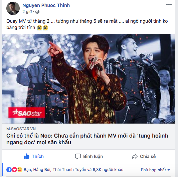 Chia sẻ mới nhất từ Noo Phước Thịnh khiến các fan hoang mang. Liệu có sự cố không lường trước xảy ra đối với sản phẩm âm nhạc được chờ đón này?