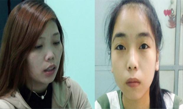 Trương Thị Bích Liễu và Bạch Thị Kim Hồng tại cơ quan điều tra. Ảnh: VNE.