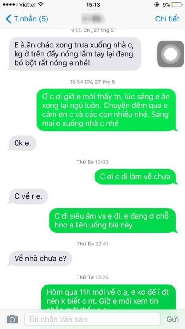 Những tin nhắn thân thiết như chị em mà vợ cũ của chồng mới nhắn cho Hoa (Ảnh nhân vật cung cấp).