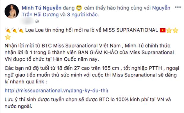 Minh Tú trở thành giám khảo của Hoa hậu Siêu quốc gia Việt Nam.