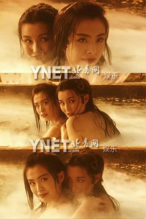 """Hai nữ thần của mọi thời đại Vương Tổ Hiền và Trương Mạn Ngọc với những cảnh làm người ta liên tưởng đây là tình tiết bách hợp trong phim điện ảnh """"Thanh xà""""."""