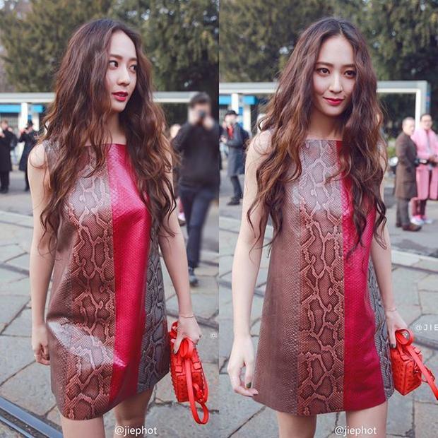 Krystal xuất hiện nổi bật trong tuần lễ thời trang Milan.