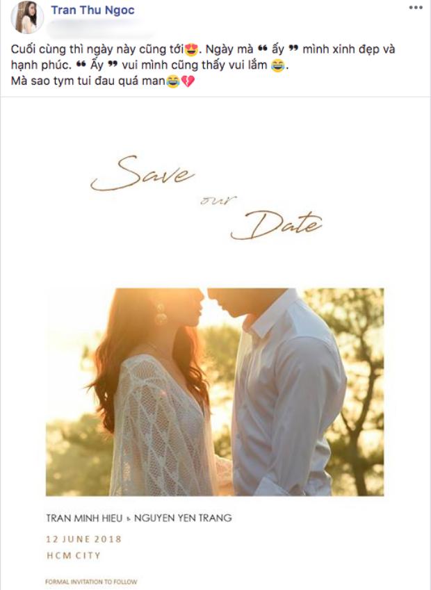 Bài đăng làm dấy lên tin đồn Yến Trang kết hôn.