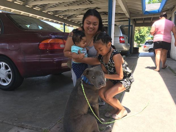 Chị Nana cùng các con và chú chó Sasha.