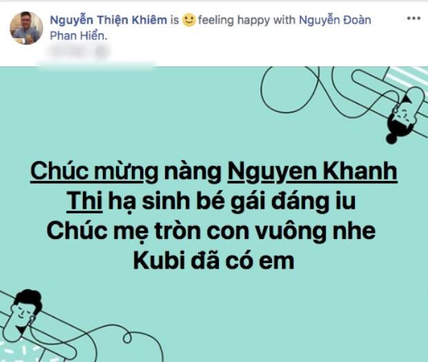 Stylist Nguyễn Thiện Khiêm tiết lộ Khánh Thi đã sinh con gái thứ hai vào sáng nay.