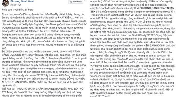 Nguyên văn bài viết mà Phương Oanh chia sẻ trên trang cá nhân của mình.