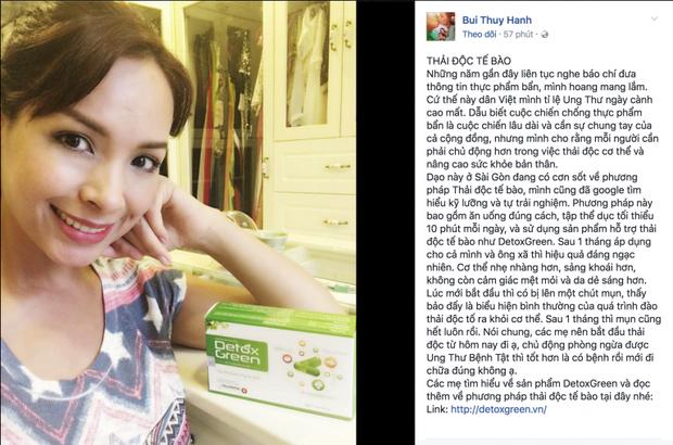 Thúy Hạnh chia sẻ bí quyết thải độc cơ thể trên facebook cá nhân.