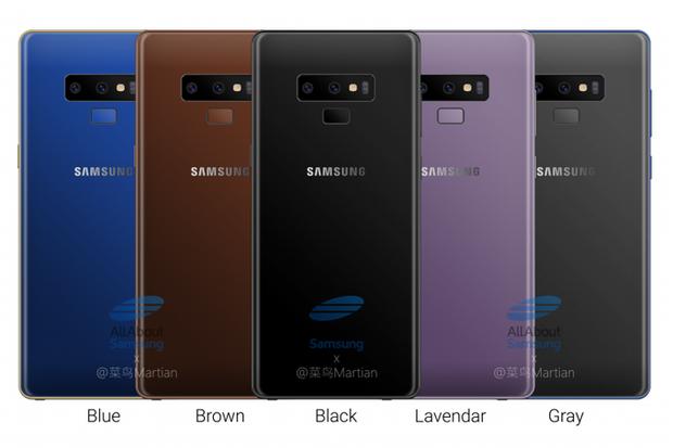 Năm phiên bản màu máy khác nhau của Samsung Galaxy Note9.