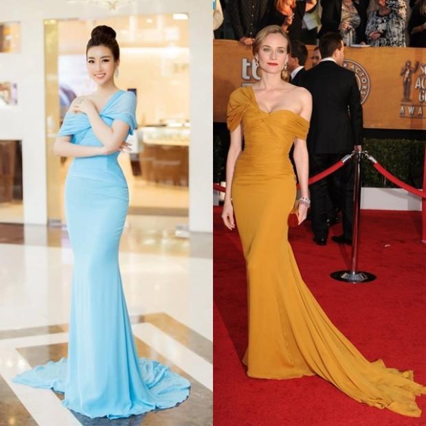 Khi để phần nhấn ngực ấn tượng từ bộ cánh của Hoa hậuĐỗ Mỹ Linhvà nữ diễn viên kiêm người mẫuDiane Kruger, có thể thấy điểm tương đồng khá lớn.
