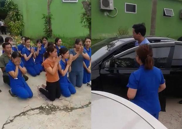 Các cô quỳ lạy đừng đóng cửa cơ sở mầm non (ảnh chụp clip)