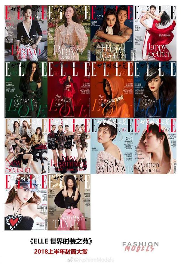 Chỉ riêng Phạm Băng Băng, cô có hẳn sáu trang bìa riêng biệt của Elle nhân số kỷ niệm 30 năm tạp chí!