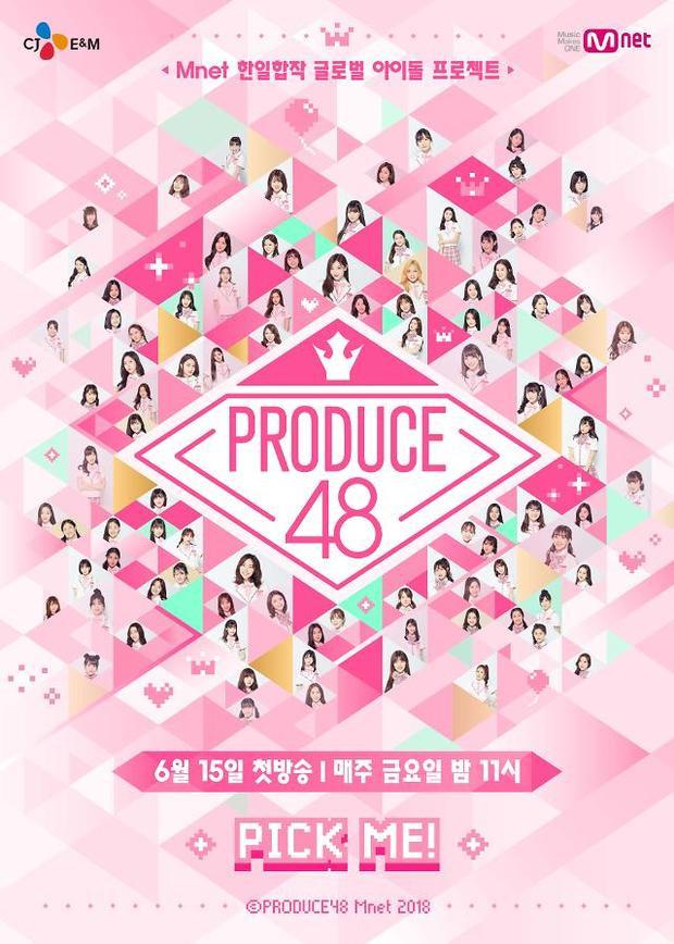 Poster chính thức của Produce48 với 96 thực tập sinh.