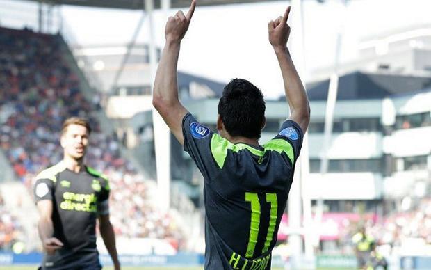 Lozano vừa trải qua một mùa giải bùng nổ trong màu áo CLB PSV. Ảnh: Facebook nhân vật.
