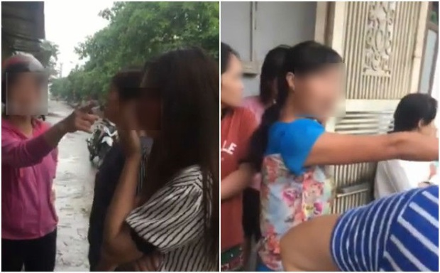 Cô vợ cùng những người phụ nữ khác tìm gặp và mắng chửi cô nhân tình. Ảnh cắt từ clip.
