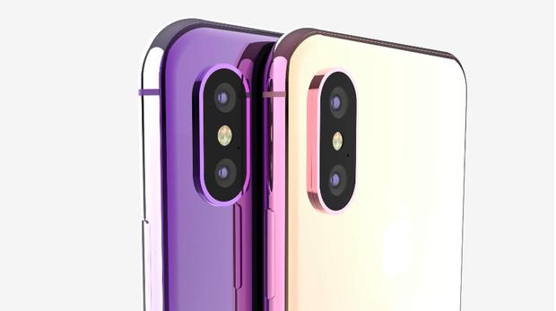 Hai chiếc iPhone trong concept này được thể hiện với chất liệu màu vàng và màu tím chủ đạo. Mặt lưng của máy được tráng kính trong khi đó khung viền được cấu thành từ kim loại.