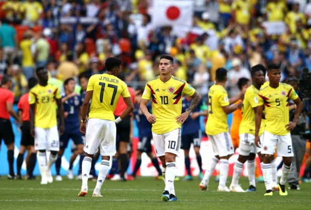 Sự thất vọng của các tuyển thủ Colombia. Ảnh: Getty.