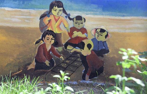 Một bức tranh miêu tả trò chơi của trẻ em vùng biển.