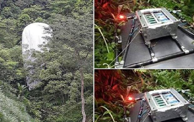 Hình ảnh thiết bị rơi xuống rừng ở Hà Giang. Ảnh facebook