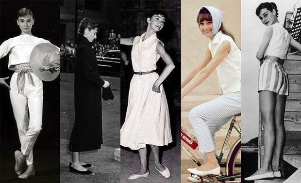 Từ trang phục diễn đến trang phục thường ngày Audrey đều trung thành với giày đế bệt.