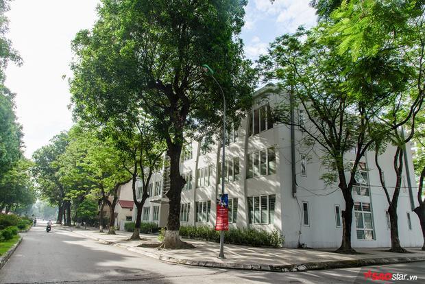 """Trường có """"con đường tình yêu"""" nổi tiếng mà sinh viên khắp Hà Nội đều trầm trồ, ghen tỵ. Đây là nơi nhiều đôi lứa đã hẹn hò, tụ tập ca hát sau những giờ học căng thẳng."""