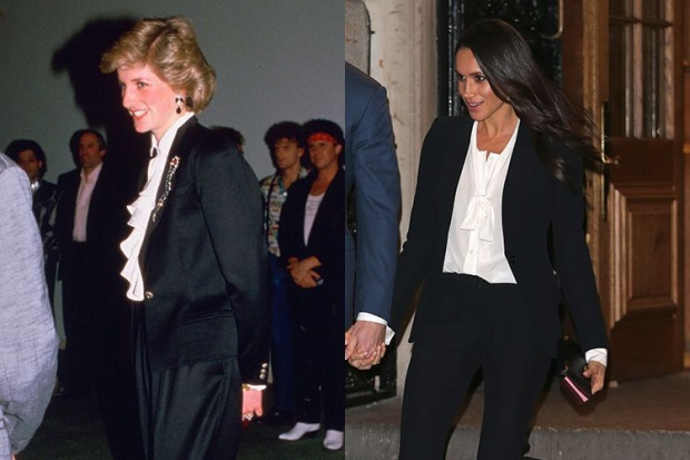 7. Hai bộ trang phục được Công nương Diana diện năm 1986 và của Công nương Meghan vào tháng 2 vừa qua.