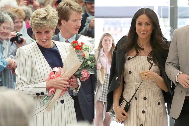 9. Bộ trang phục kẻ sọc khá giống nhau của mẹ chồng con dâu nổi tiếng Hoàng gia Anh.