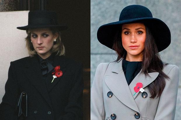 10. Bộ trang phục đen của Công nương Diana diện trong sự kiện tưởng niệm năm 1984 khá giống với bộ trang phục trong một sự kiện tương tự của Meghan.