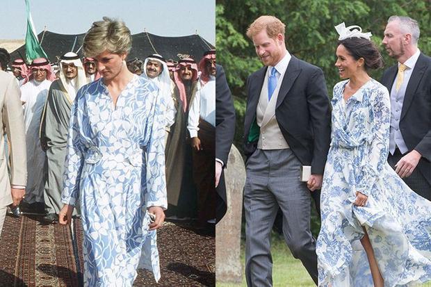 4. Nữ công tước xứ Sussex diện chiếc áo choàng giống hệt mẹ chồng trong bộ sưu tập của Oscar de la Renta trong một đám cưới gia đình ở Anh. Trong khi đó, công nương Diana diện trang phục tương tự năm 1986.