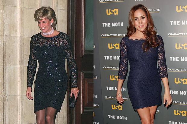 2. Thời điểm chưa quen Harry, Meghan từng diện bộ trang phục này năm 2012 trong khi Công nương Diana diện bộ trang phục tương tự năm 1996.