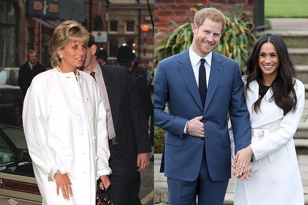3. Công nương từng diện chiếc áo khoác trắng thương hiệu Versace ở London vào năm 1996 trong khi Meghan mặc chiếc áo khá giống đến từ một thương hiệu của Canada trong ngày thông báo đính hôn của mình. Chiếc áo của cô sau đó được nhãn hàng thời trang bán hết chỉ trong vòng vài phút trên mạng xã hội.