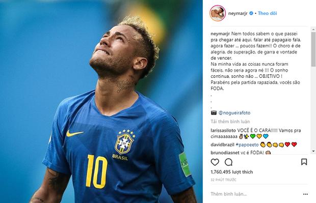 Neymar chia sẻ niềm vui chiến thắng trên trang cá nhân Instagram. Ảnh: Instagram.