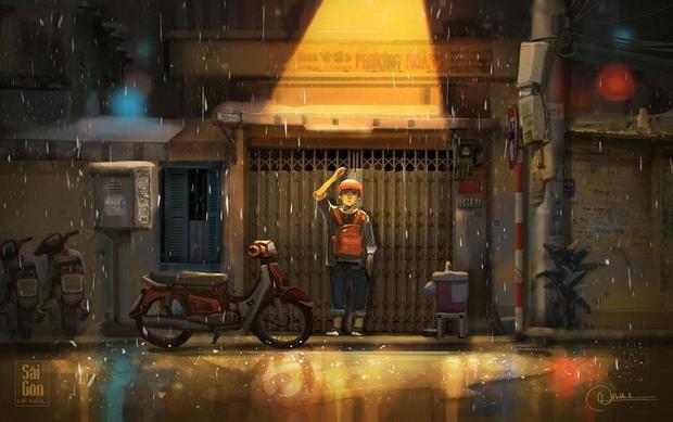 Là những lúc đi làm về gặp những cơn mưa bất chợt, sau đó vội đứng nép vào mái hiên để chờ mưa tạnh.